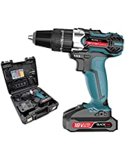 Blackpine Cordless Drills with Impact 18V Lithium-Battery 21+3 Toraue Setting with 2 Speed 10mm Metal Chuck 32pcs Accessories Supercharge 2000mAh