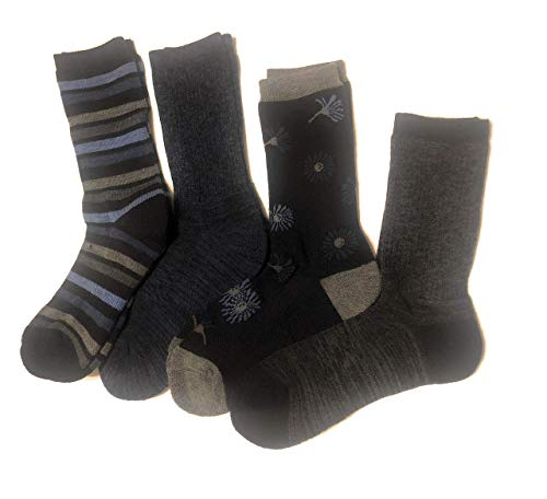 Kirkland Signature Ladies' Trail Socks Merino Wool (Black/Denim), 4 Pairs, Fits Shoe Size: 4-10.5