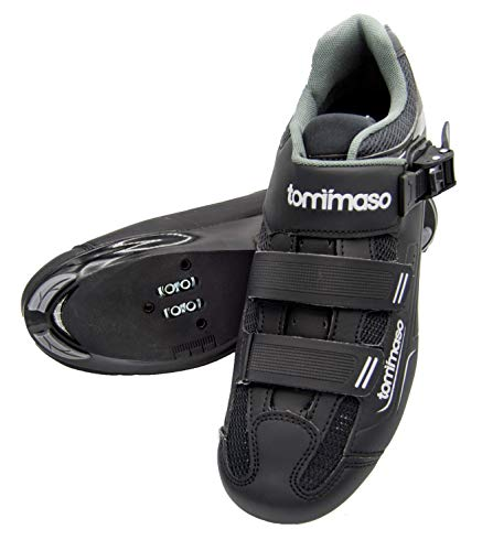 tommaso Strada 200 Dual Cleat Compatible Road Touring Cycling Spin Shoe with Buckle - 42 Black (Best Bicycle Touring Shoes)