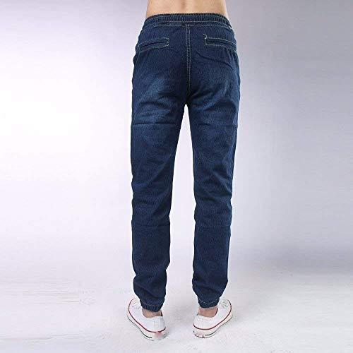 Mezclilla Hombres Pantalones Vintage Cómodos Pantalones Cordones para Streetstyle Hombres Casuales Pantalones Vaqueros Ajustados Dunkelblau Puños con Real Skinny para De Pantalones 5qwrgqTaZf