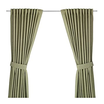Green Curtains amazon green curtains : Amazon.com: IKEA INGERT - Pair of Curtains with Tie-Backs Green 57 ...