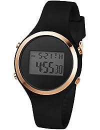 Girls Women's Digital Watch Sport Waterproof Jelly Resin Strap Girls Wristwatch with Alarm Stopwatch