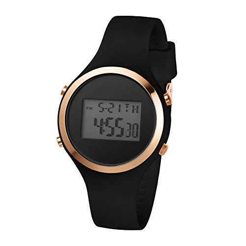 Girls Women's Digital Watch Sport Jelly Resin Strap Girls Wristwatch with Alarm Stopwatch (Black-Rose)
