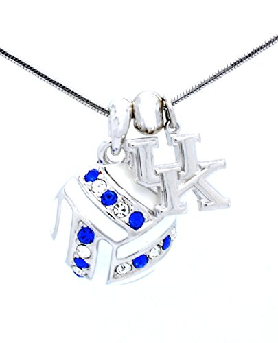 CRYSTAL ENAMEL VOLLEYBALL NECKLACE - LARGE - KENTUCKY WILDCATS