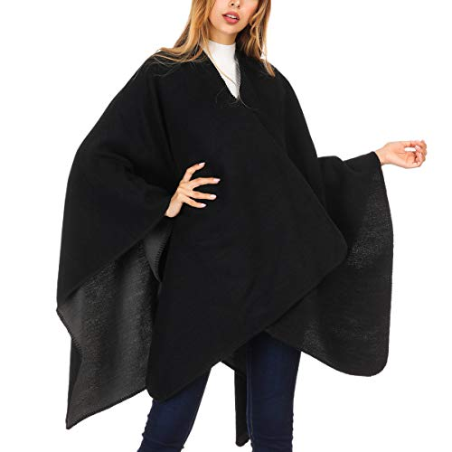 DsFiyeng Cashmere Women Shawl Wrap Tassel Thick Soft Open Front Poncho Cape for Winter(21+Colors Available)