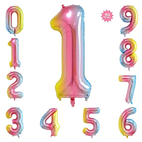 (40 Inch Rainbow Jumbo Digital Number Balloons 1 Huge Giant Balloons Foil Mylar Number Balloons for Birthday Party,Wedding, Bridal Shower Engagement Photo Shoot, Anniversary)