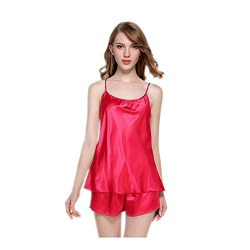 Lingerie Spaghetti Shorts Silk Abbigliamento Satin Girocollo Strap Home Estate Top Nightwear Donna Set HAOLIEQUAN Rosso Pigiama ngRU6xxz