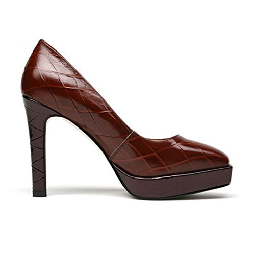 Party Pumps Ladies Court High Women's Heels Wedding Platform Daily Shoes Dress Black Shoes Heeled With Brown Winered For Shoes xwwqZ74