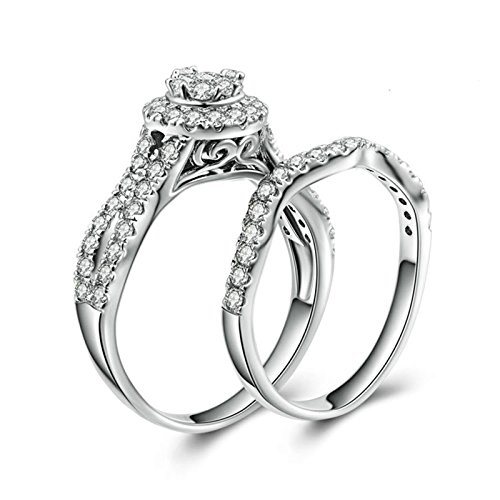 Aokarry S925 Silver Womens Rings Engagement Halo Ring Round White Cubic Zirconia Ring Set Size 11