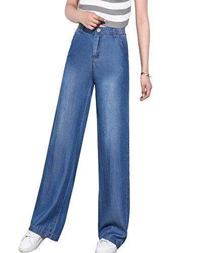 ZhuiKunA Vaqueros Largo Mujer Bootcut Flared Talle Alto Pantalones Rectos Azul