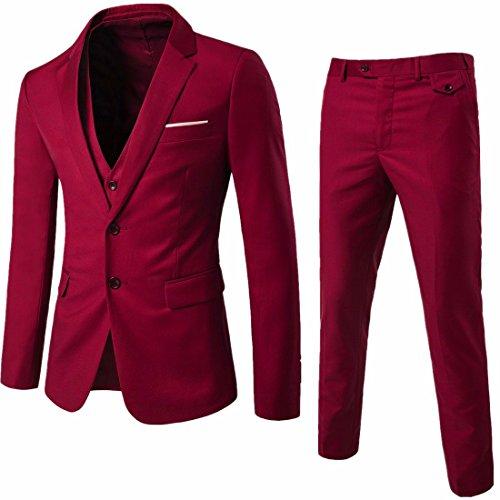 WEEN CHARM Mens Suits 2 Button Slim Fit 3 Pieces Suit Wine Red