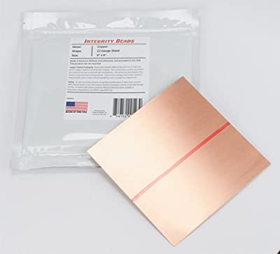 "Copper 22 Gauge Sheet - 6"" x 6"""