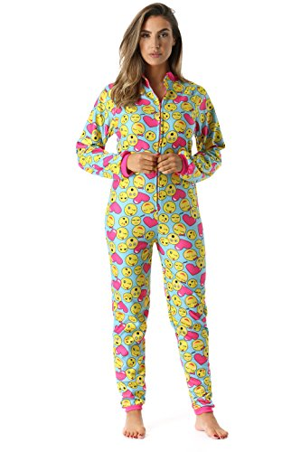 Just Love Printed Flannel Adult Onesie/Pajamas, Emoji Heart, Large]()