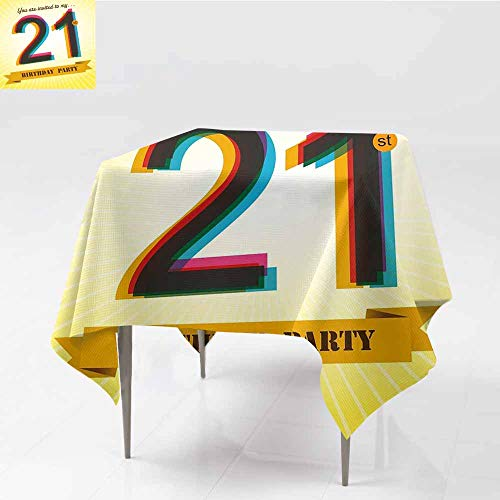 (Diycon Washable Tablecloth 21st Birthday Invitation to an Amazing Birthday Party on a Golden Colored Backdrop Image Multicolor Picnic W70 xL72)