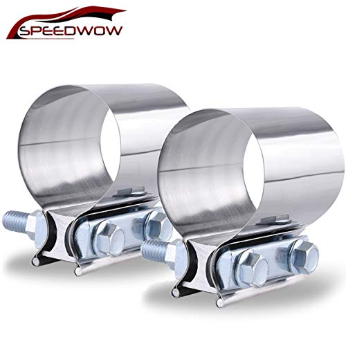 "SPEEDWOW 2.5"" Butt Joint Exhaust Band Clamp Sleeve Stainless Steel"