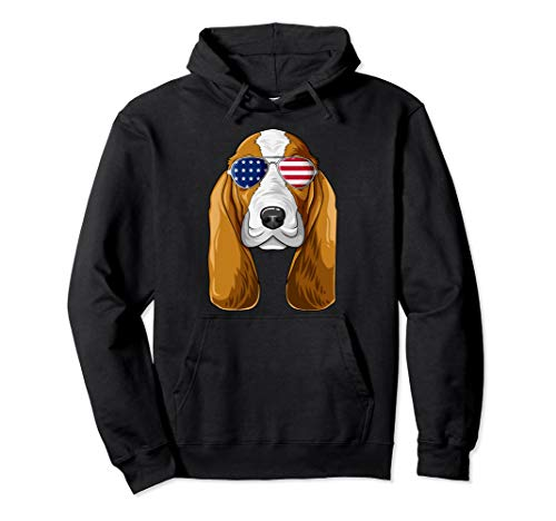 Patriotic Basset Hound American Flag Glasses 4th July Pullover Hoodie