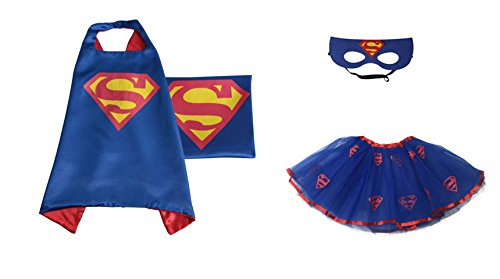 [Rush Dance Kids Children's Deluxe Comics Super Hero CAPE & MASK & TUTU Costume (Blue Superman (Superman] (Ariel Blue Dress Costumes)
