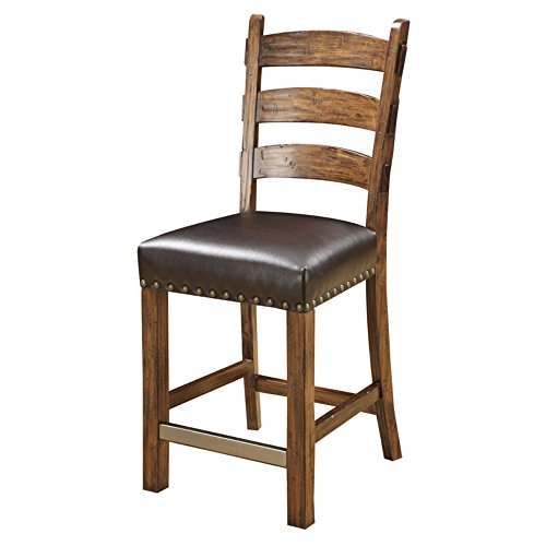 Emerald Home Chambers Creek Ladder Back Barstool with Upholstered Seat/Nailhead Trim - Set of 2