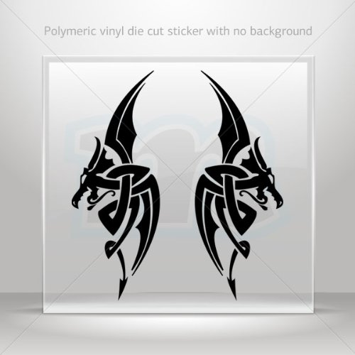 Decal Sticker Pair Of Dragons Devil Tablet Laptops Weatherproof Sports Black (6 X 2.29 In)