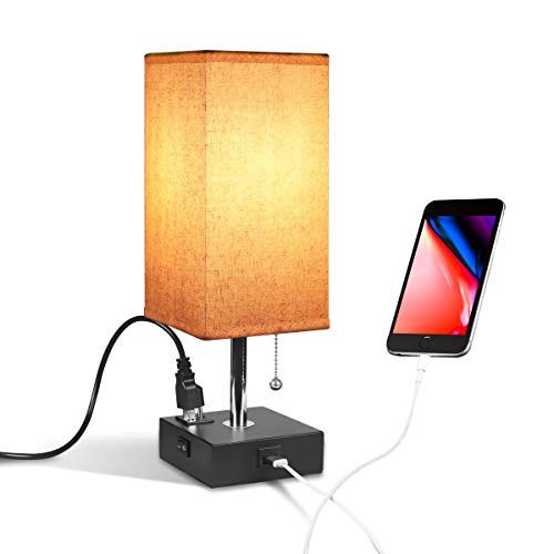 USB Bedside Table & Desk Lamp with USB Port and Outlet, Acaxin Wood Minimalism Lamp, Black Wood Base Unique Fabric Shade, Special Pull Chain Lamp for Bedroom/Nightstand/End Table/Living Room
