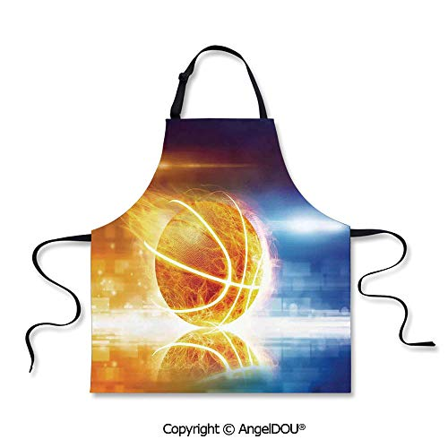 SCOXIXI Kitchen Bib Apron with Adjustable Neck Abstract Sports Background Burning Basketball with Digital Reflection Art Print for Grill BBQ Cooking Cosplay Party.