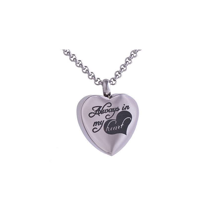 Michley Always in My Heart Urn Locket Jewelry Memorial Necklace Stainless Steel Silver