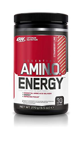 Optimum Nutrition Amino Energy Pre Workout Energy Performance Supplement with Beta Alanine, Caffeine, Amino Acids and Vitamin C. Performance Supplement  - Strawberry Lime, 30 Servings, 270g