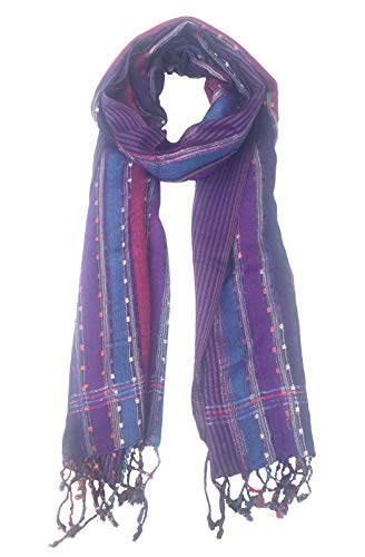Women's Multi Color Shimmer Sparkle Scarf Soft Crochet Loop Tassel Shawl - Premium Quality (Purple)