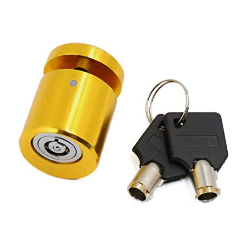 uxcell Gold Tone Motorcycle Scooter Wheel Anti Thief Security Disk Lock with 2 Keys