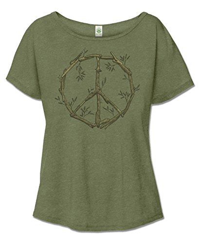 Slouchy Driftwood Peace Sign T-Shirt (Large) (Peace Sign Organic Cotton Tee)