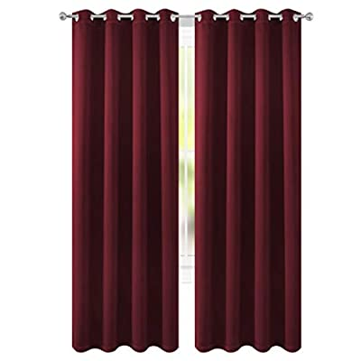 "FLOWEROOM Blackout Curtains Thermal Insulated Draperies with Grommet for Bedroom, Burgundy Red, 52 by 84 inch, 2 Panels - PACKAGE INCLUDED: Set includes 2 panels per package, each panel measuring 52 inch wide by 84 inch long. 8 sliver opening grommet with 1.6"" diameter, fit standard-sized curtain rods PERFORMANCE: Blocks 95% of Sunlight and UV rays to any room anytime of the day, lowers outside noise up to 40% thanks to the innovative triple weave technology. ENERGY SAVING: Creates energy-saving insulating barrier against heat and cold, keeping room cooler in the summer and warmer in the winter. - living-room-soft-furnishings, living-room, draperies-curtains-shades - 41iBbIc7bUL. SS400  -"