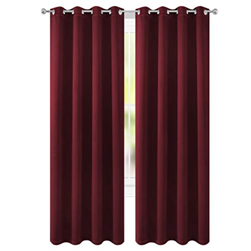 - FLOWEROOM Blackout Curtains Thermal Insulated Draperies with Grommet for Bedroom, Burgundy Red, 52 by 84 inch, 2 Panels