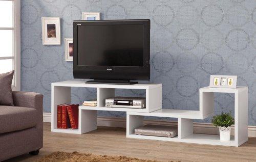 Convertible TV Console and Bookcase Combination White (Bookshelf Tv Stand)