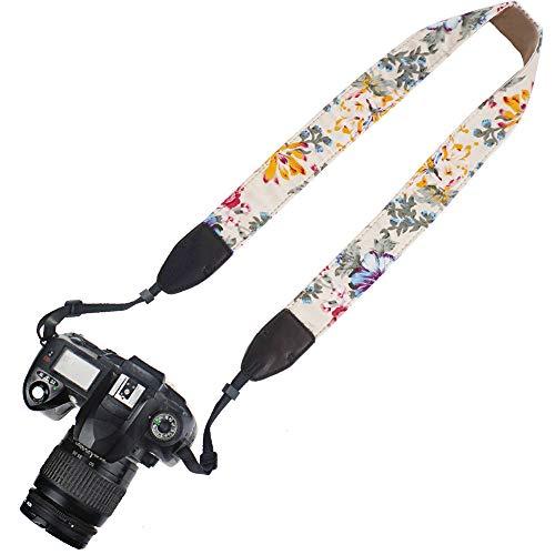 Elvam Printed Stylish Camera Neck Shoulder Strap Belt for Men/Women Compatible with Universal DSLR/SLR/Nikon Canon Sony Pentax Fuji ETC, Flower Floral 01
