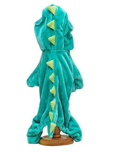 (Pawant Puppy Dinosaur Costume Wear Dog Dress With Hood Green XL)