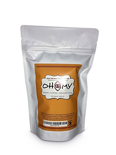 Raw Organic Cocoa Butter by Oh My - Edible Kosher Moisturizer for Body Butters, Lotions, Creams, Lip balm or Cooking & Smoothies 16 oz Bag (Fair Trade Cocoa Butter)