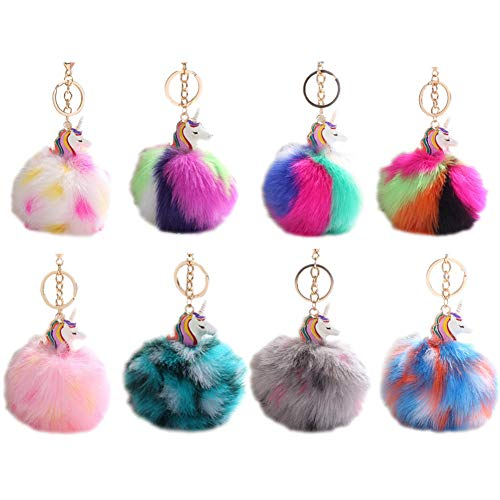 HXINFU Cute Pom Pom Fur Ball Unicorn Keychain Colorful Soft Fluffy Ball Bag Hanging Pendant
