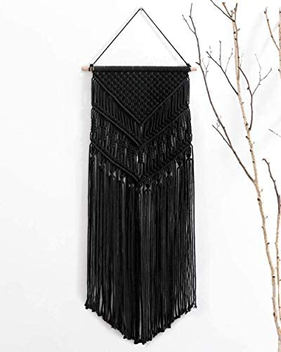 boyspringg Macrame Woven Wall Hanging Black Bohemian Hanging Tapestry 17×33 inch Wall Art Decoration for House Bedroom Wedding Party Apartment Decor