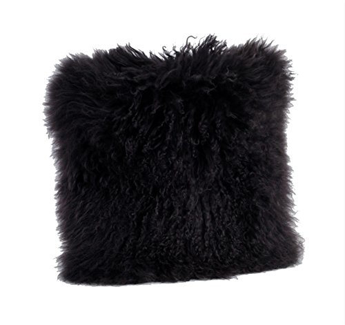 (Occasion Gallery Black Color Real Mongolian Lamb Fur Pillow, Filled. 12 Inch X 20 Inch)