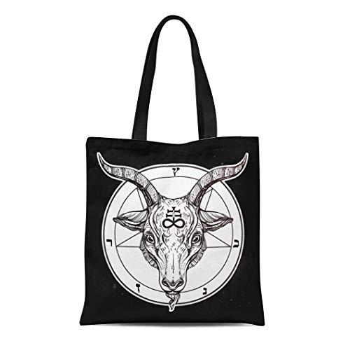 Semtomn Canvas Tote Bag Shoulder Bags Pentagram Demon Baphomet Satanic Goat Head Binary Symbol Tattoo Women's Handle Shoulder Tote Shopper Handbag