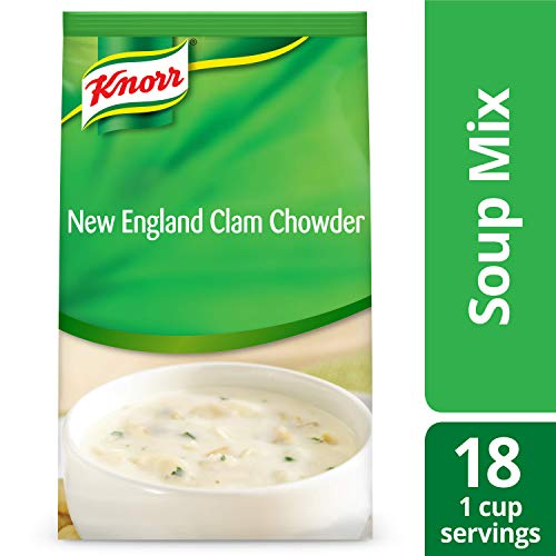 Knorr Professional Soup du Jour New England Clam Chowder Soup Mix No added MSG, 0g Trans Fat per Serving, Just Add Water, 27 oz, Pack of 4