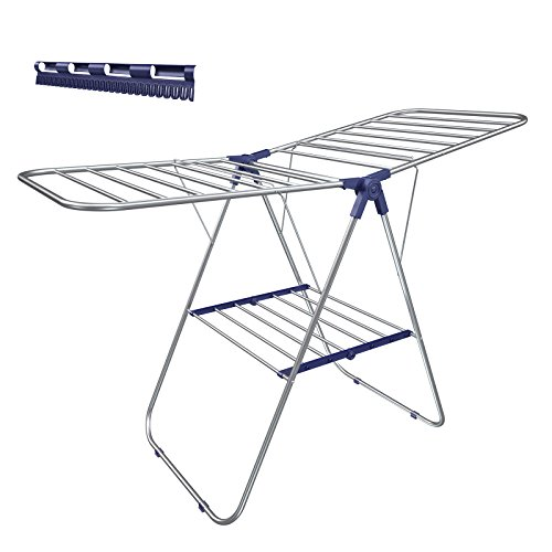 SONGMICS Stainless Steel Clothes Drying, Bonus Sock Clips, Foldable for Easy Storage, Gullwing Space-Saving Laundry Rack, ULLR52BU, Silver