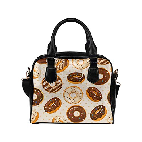 Top Handle PU Leather Shoulder Satchel Bag Glazed and Sugar Chocolate Donuts ()