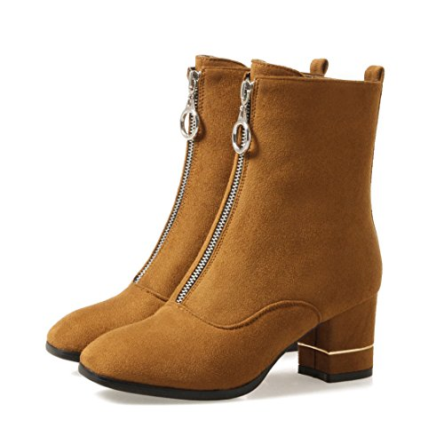 Heel Boots Zip Mid Chunky With Classic Short Nubuck Brown Calf Shoes Mid Womens Leather Agodor YtqwaA81qx