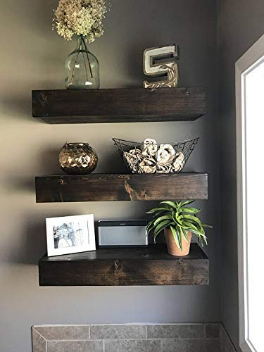 Floating Wood Shelves Set of 2