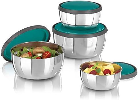 GOURMETmaxx - Juego de tazones de acero inoxidable con tapa, Tazón de fuente y cuenco de ensalada, Tazones de almacenamiento de comida, 4 piezas ...