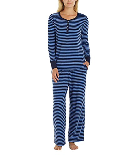 Nautica Women's 2 Piece Microfleece Pajama Set (X-Large, Navy Blue Stripe)