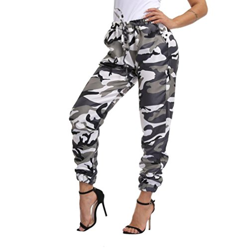 Memela Women's Drawstring Casual Joggers Pants Sports Camo Cargo Pants Outdoor Casual Camouflage Trousers (Army Green, (Camo Cargo Sweatpants)
