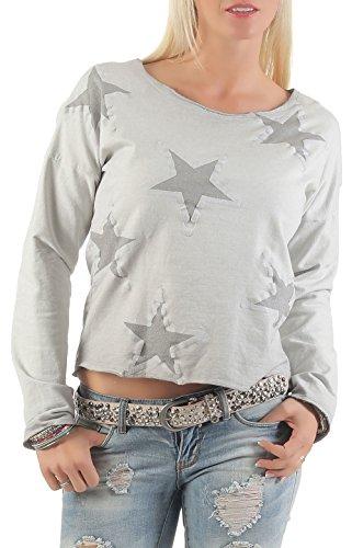 malito corto Suéter con estrella Sweater 0807 Mujer Talla Única gris claro