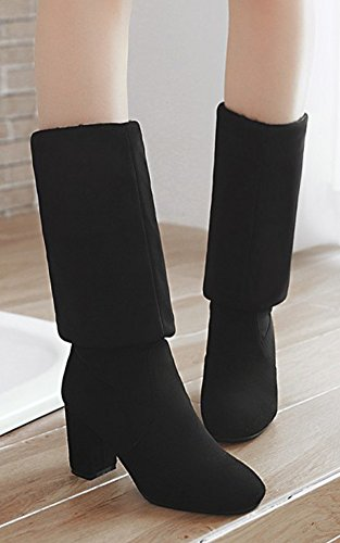 Simple Boots The Over Black Heels High Toe Round High Aisun Chunky On Suede Slim Faux Womens Dressy Pull Knee fT6gt